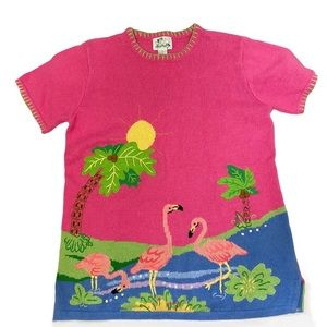 The Quacker Factory Pink Flamingo Embroidered Med